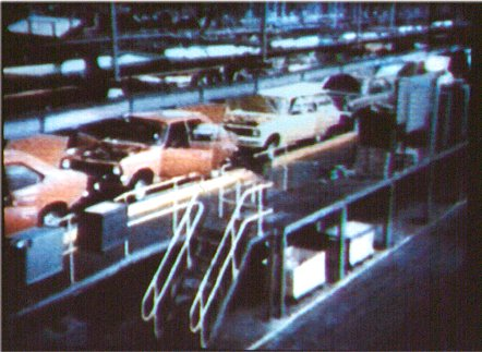 Picture of Hillman Avengers being built, taken from TV programme.